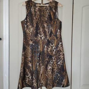 Jennifer Lopez leopard/cheetah structured dress